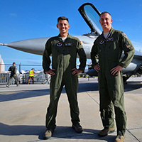 F-16 pilots Mike Driscoll ('97, DB) and Luke Weyhmuller ('08, DB)